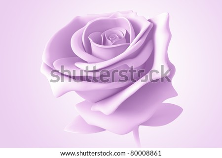 purple rose pastel colors isolated model 3d  on background