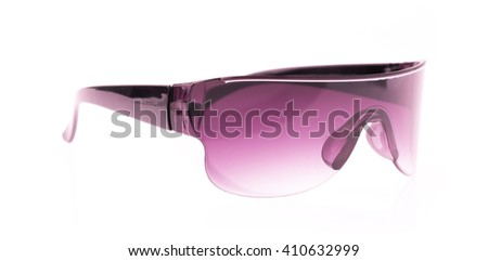 purple safety glasses isolated on the white background - stock photo