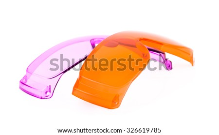 Purple safety glasses isolated on white background.