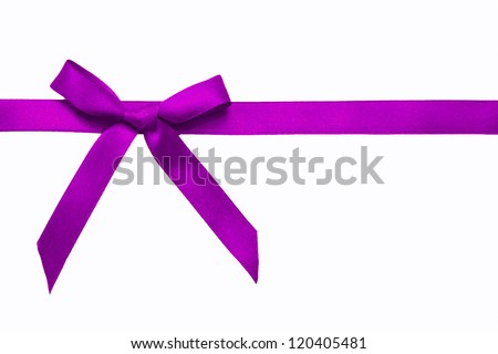 Purple satin bow on a satin ribbon. Ready for your text. Festive background or texture. Christmas gift. - stock photo