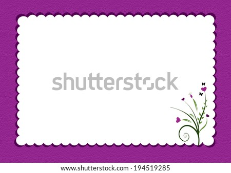 purple scalloped border with flowers used as  gift card - stock photo
