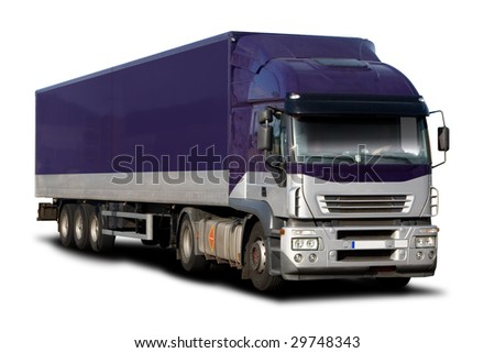 Purple Semi Truck - stock photo
