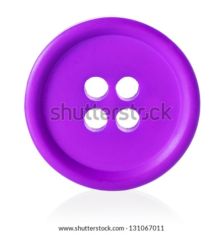 Purple sewing button isolated on white - stock photo