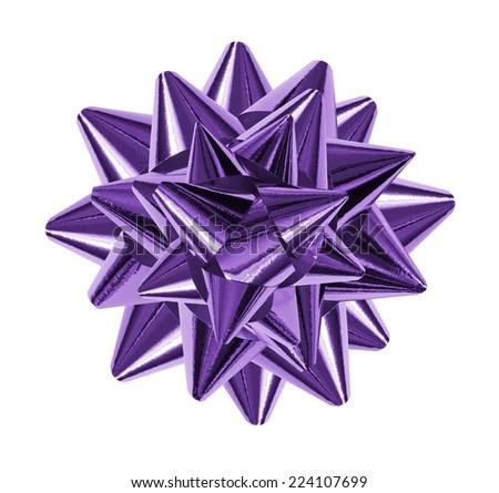 purple shiny gift bow isolated on the white - stock photo