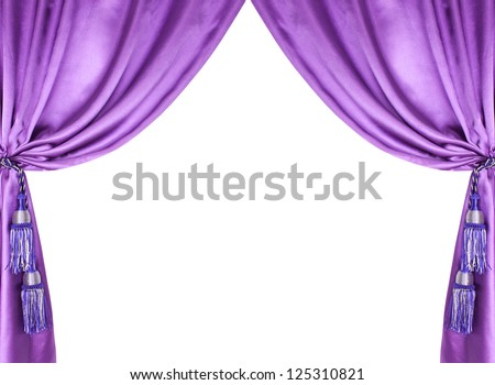 purple silk curtain with tassels over white background - stock photo