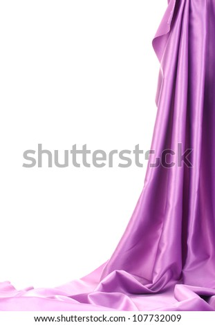 purple silk drape isolated on white - stock photo
