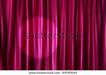 Purple silky satin curtains background with round light spot - stock photo