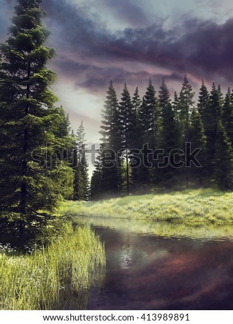 Purple sky over a river in a colorful forest with spring flowers. 3D illustration. - stock photo