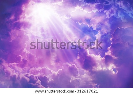Purple sky with sun and beautiful clouds,on the heaven. - stock photo