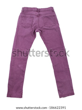 purple slim male jeans isolated on white background