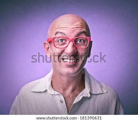 purple smiling man - stock photo