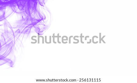 Purple smoke on white background. - stock photo