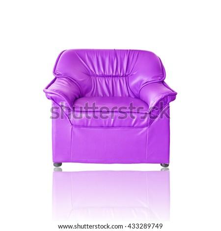 Purple sofa furniture on white background - stock photo