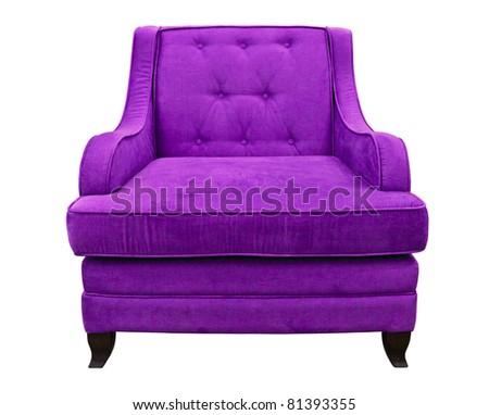 purple sofa isolated on white background - stock photo