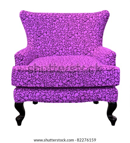 purple sofa isolated on white background - stock photo