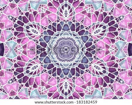 Purple stained glass mandala, digital artwork for creative graphic design - stock photo