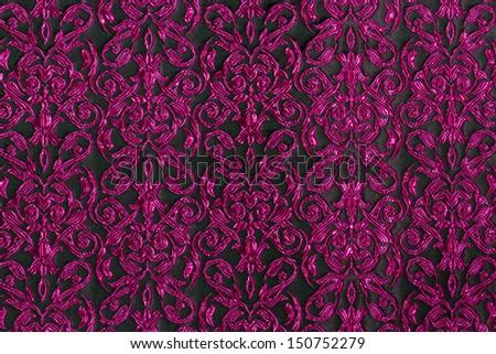 Purple Stripe Fabric.Black background. - stock photo