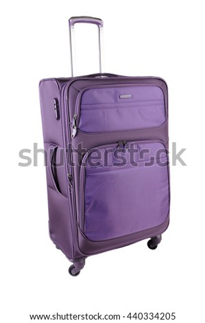 Purple Suitcase isolated on a white background - stock photo