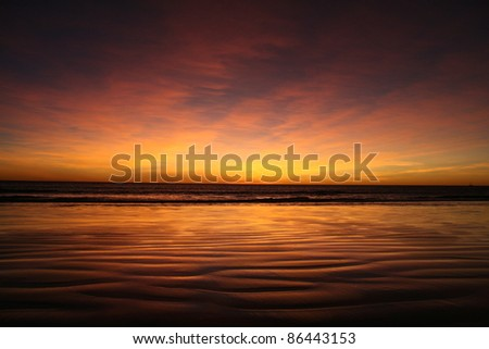 Purple sunset, Cable Beach, Broome, Australia - stock photo
