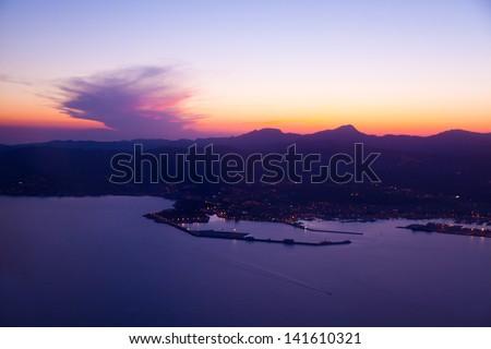 Purple Sunset in Palma de Mallorca Port, Spain - stock photo