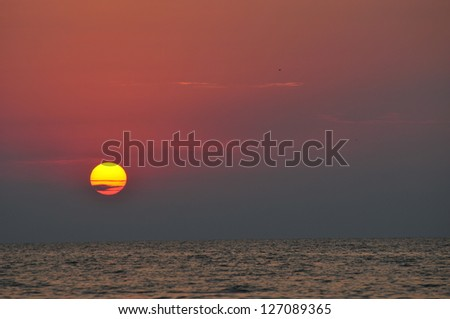 Purple sunset over the Black Sea