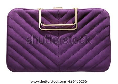 Purple textured clutch - stock photo