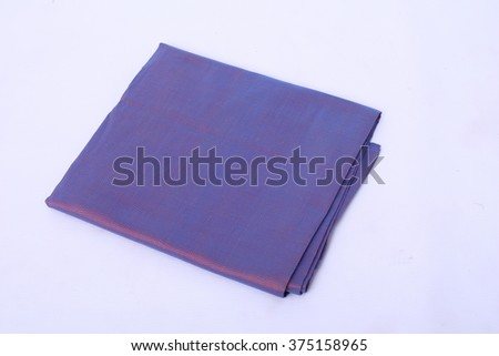 Purple Thai Silk traditional / local woven weaving fabric on white background