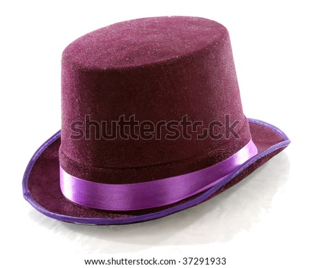 purple top hat isolated on white background - stock photo