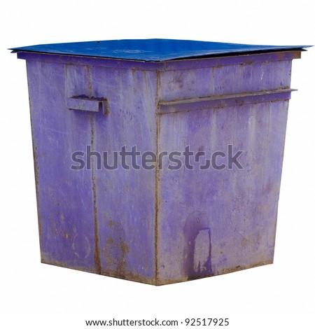 purple trash dumpster isolated on white background - stock photo
