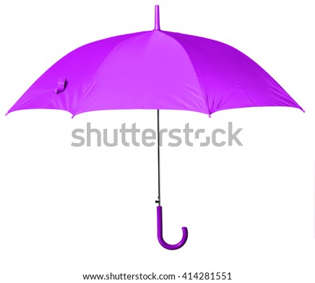Purple umbrella isolated against white background - stock photo