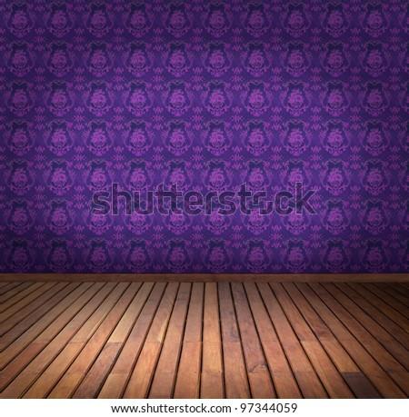 purple wallpaper room - stock photo