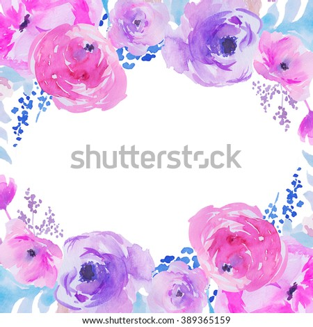 Cute Watercolor Flower Frame Stock Images, Royalty-Free ...