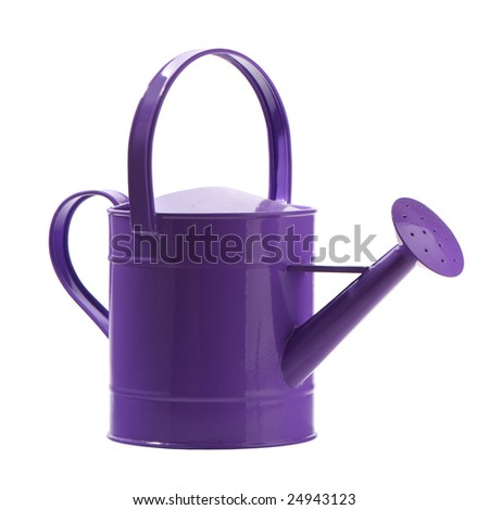 Purple watering can isolated on white background - stock photo