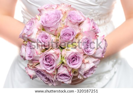 Purple wedding bouquet - stock photo