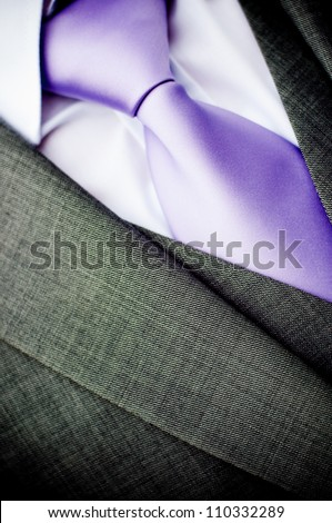 purple wedding tie and white shirt - stock photo