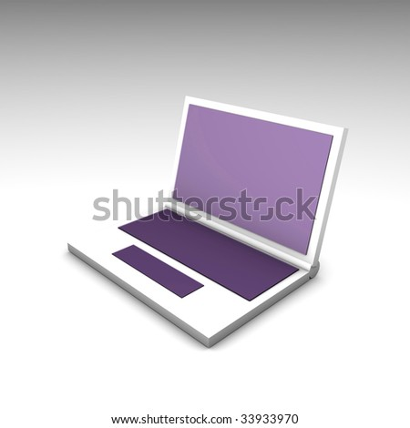 Purple White Computer Notebook in 3d Art