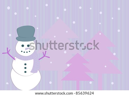 Purple winter background with snowman - stock photo