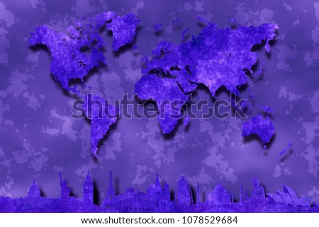 Purple world map on abstract background stock illustration purple world map on abstract background with silhouettes of famous world landmarks from washington new gumiabroncs Image collections