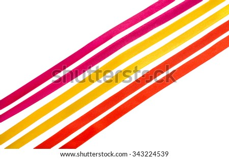 Purple, yellow and red silk ribbons isolated on white background