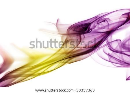 Purple-yellow smoke in white background - stock photo