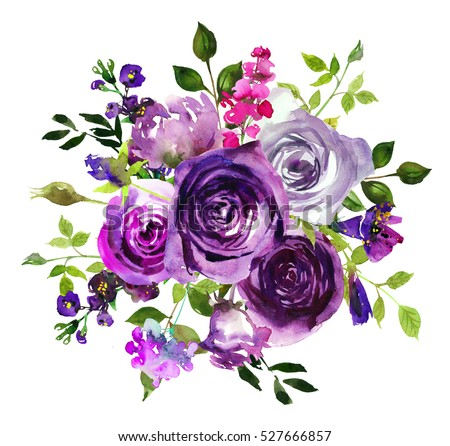 Purple Yellow Watercolor Floral Arrangement Semi Wreath Flowers Leaves Isolated On White Background