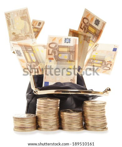 Purse and coins and euro isolated on white background  - stock photo