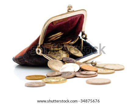 Purse and coins isolated on white background