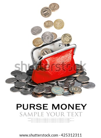 purse and coins isolated on white background. Sample text and deleted - stock photo