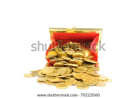 purse and gold coins - stock photo