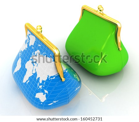 Purse Earth and purses. On-line concept on a white background