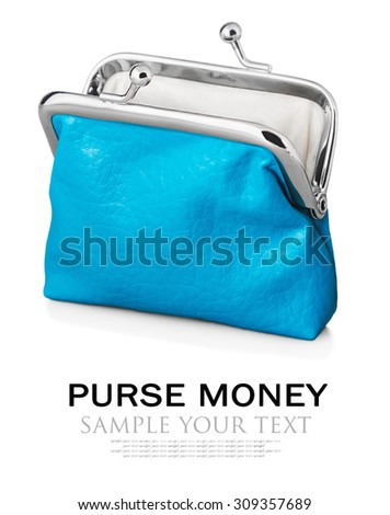 Purse isolated on white background. Focus is on the purse. Sample text and deleted - stock photo