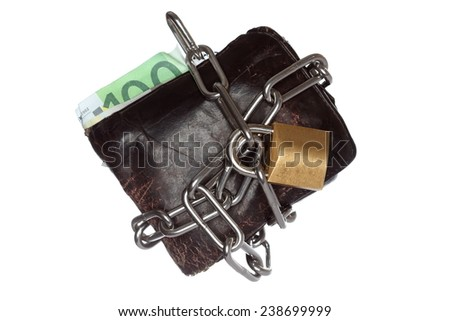 purse security with chain locked on white background - stock photo