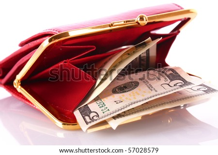Purse with dollar banknotes isolated on white