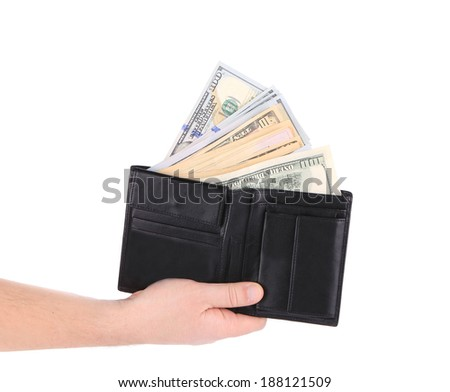 Purse with dollar bills in hand. Isolated on a white background. - stock photo
